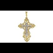 Крест православный ажурный с бриллиантом, желтое золото
