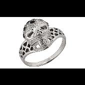 Кольцо Череп с сапфирами, белое золото