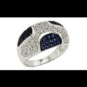 Кольцо Звездная Ночь с бриллиантами и сапфирами, белое золото