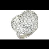 Кольцо Сердце с фианитами, серебро