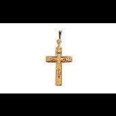 Крест православный прямоугольный литой с фианитами, красное золото