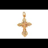 Крест православный сложный многослойный, красное золото