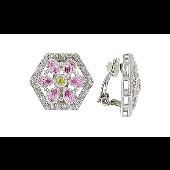 Серьги-клипсы Цветы с розовыми и желтыми фианитами, серебро