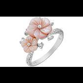 Кольцо Роза с имитацией перламутра и фианитами, серебро