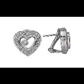 Серьги Сердце с плавающими бриллиантами, белое золото
