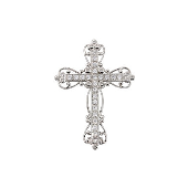 Крест без распятия ажурный с фианитами, серебро