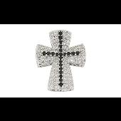 Крест широкий усыпан прозрачными и чёрными фианитами, серебро