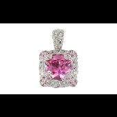 Подвеска Принцесса с розовым фианитом, серебро