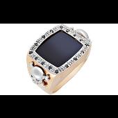 Кольцо Череп с чёрными бриллиантами и ониксом, красное и белое золото