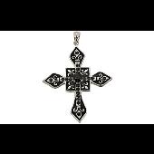 Крест без распятия декоративный с чёрными фианитами, серебро