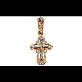 Крест православный ажурный с бриллиантами, красное золото