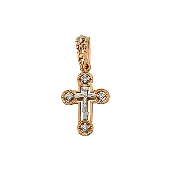 Крест православный с бриллиантами, красное золото