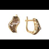 Серьги Волна с коньячными бриллиантами, желтое золото 585 проба