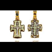 Крест православный широкий с эмалью, на обороте Молитва Господу, серебро с позолотой