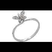 Кольцо Бабочка с бриллиантами, белое золото