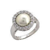 Кольцо серебро с жемчугом и фианитом, серебро