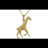 Колье с подвеской Жираф на якорной цепи, серебро с золотым покрытием