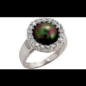 Кольцо с имитацией черного жемчуга и фианитами, серебро