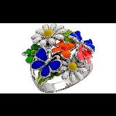 Кольцо Цветочная Поляна Ромашки с Бабочками с цветной эмалью, серебро