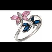 Кольцо Бабочки с фантазийными сапфирами, белое золото