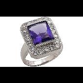 Кольцо с фиолетовым фианитом и россыпью фианитами, серебро