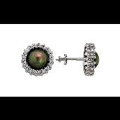 Серьги Пусеты с имитацией жемчуга и фианитом, серебро