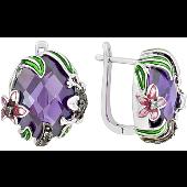 Серьги овальные Лягушка и Лилия с фиолетовой шпинелью и черными фианитами, серебро