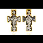 Крест православный Распятие, на оборотной стороне Архангел Михаил, серебро с золотым покрытием