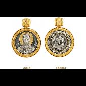 Икона Николай Чудотворец в круглом окладе, серебро с позолотой