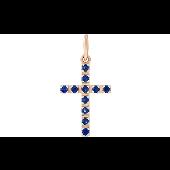 Крест с сапфирами, красное золото