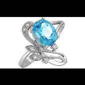 Кольцо Цветок с топазом и фианитами, серебро