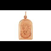 Казанская Икона Божьей Матери с лазерной гравировкой, красное золото