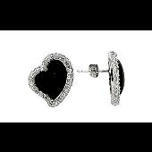 Серьги Сердце с черным агатом и прозрачными фианитами, серебро