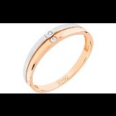 Кольцо с 2 бриллиантами, красное золото
