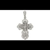 Крест православный ажурный с бриллиантами, белое золото