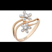 Кольцо Цветы с бриллиантами, красное золото