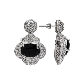 Серьги длинные с черными и прозрачными фианитами, серебро