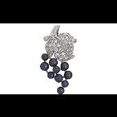 Кулон Виноград с имитацией чёрного жемчуга и фианитами из серебра