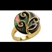 Кольцо Росток с имитацией черного жемчуга и фианитами, серебро с золотым покрытием
