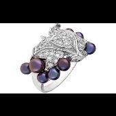 Кольцо Виноградная Лоза с имитацией черного жемчуга и фианитами, серебро