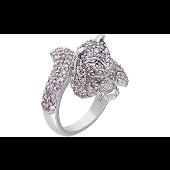 Кольцо Кошка с розовыми фианитами, серебро