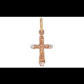 Крест с бриллиантами, красное золото