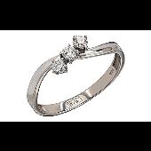 Кольцо с тремя бриллиантами, белое золото