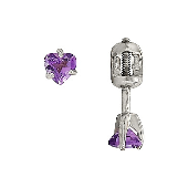 Серьги пусеты с аметистом в форме Сердце, серебро