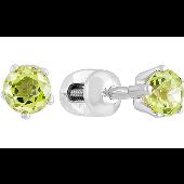 Серьги-пусеты с круглым хризолитом, серебро