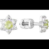 Серьги-пусеты Цветок с хризолитом и фианитами, серебро