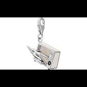 Кулон Микроволновая Печь с открывающейся дверкой, цветная эмаль, серебро