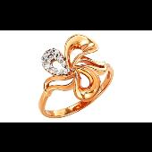 Кольцо Цветок с фианитом, красное золото