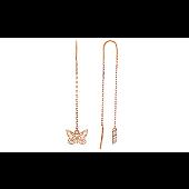 Серьги-продевки Бабочки без камня с алмазными гранями, красное золото