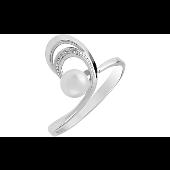 Кольцо с 1 жемчужиной, белое золото